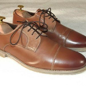 Stacy Adams Mens 9.5 M Oxfords Brown Cap Toe Lace